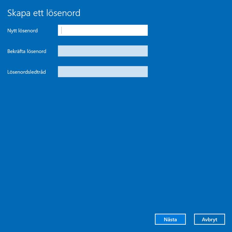 Ange ditt säkra lösenord och en eventuell ledtråd ifall du skulle glömma lösenordet