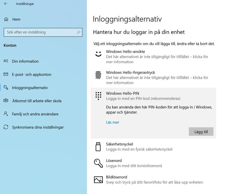 Tryck sedan på Windows Hello-PIN